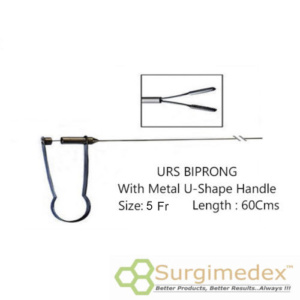 URS Forceps 5Fr 60Cms With U-Shape Metal handle – Biprong