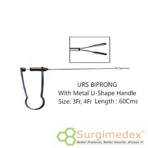 URS Forceps 3Fr 60Cms With U-Shape Metal handle – Biprong