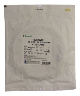 "Dr. Surgical PTFE Guidewire 0.035"" 150Cms J Tip Fixed Core"