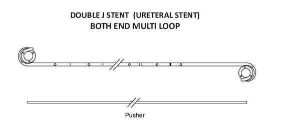 Ureteral Double J Stent – Multi Loop – Both End Open – TPU (Box of 10)
